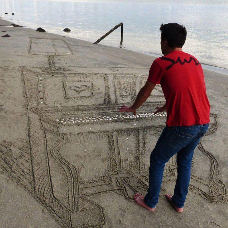 3d piano sand art new zealand