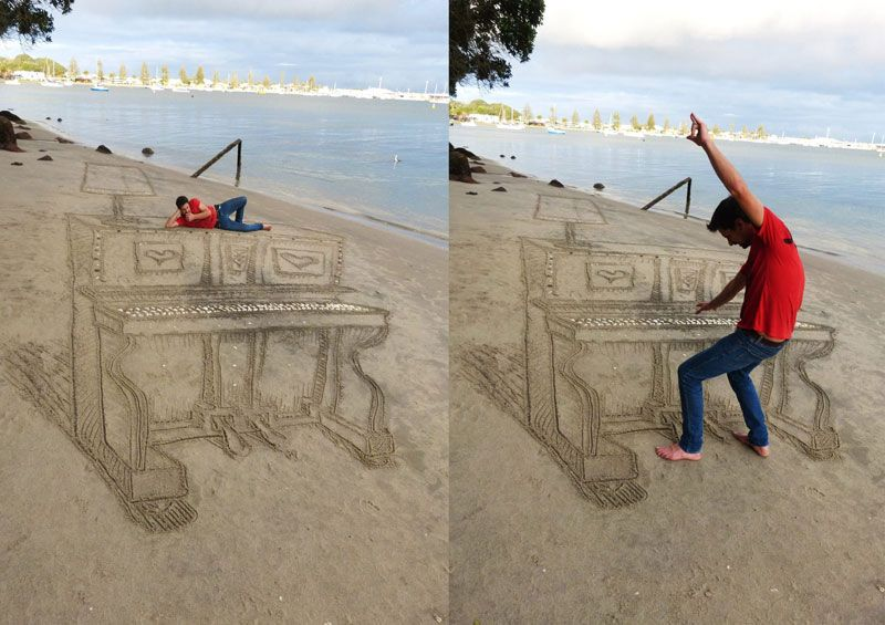 3d sand piano art New Zealand