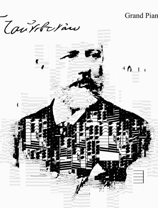 Tchaikovsky self portrait - Generative collage using his music and signature (sheet music from Piano Concerto No. 1 in B-flat minor, Op. 23) Made by Sergio Albiac