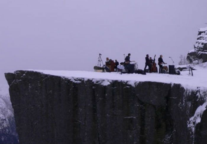 Concert on top of Pulpit Rock by norvegian band Adjagas
