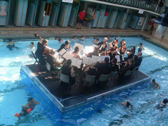west yorkshire symphony in a swimming pool