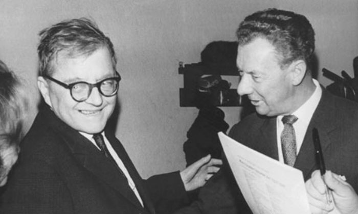 Dmitri Shostakovich (left) and Benjamin Britten in 1966