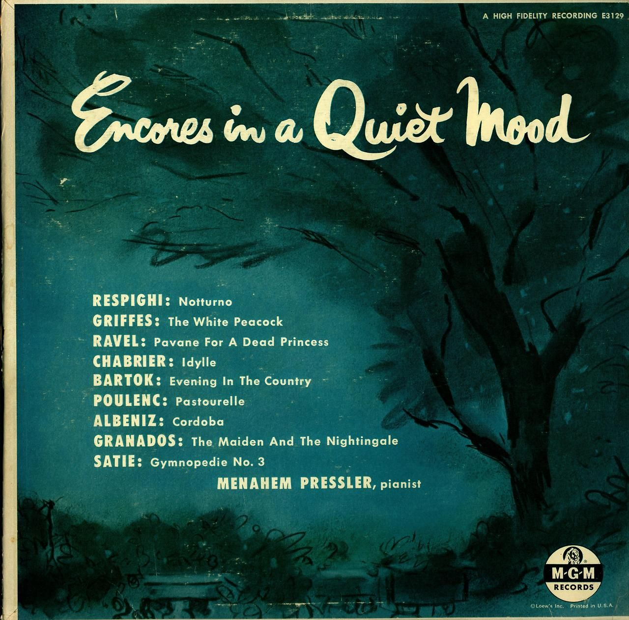 Encores in a Quiet Mood Menahem Pressler, Piano MGM Records E3129 (1959?)