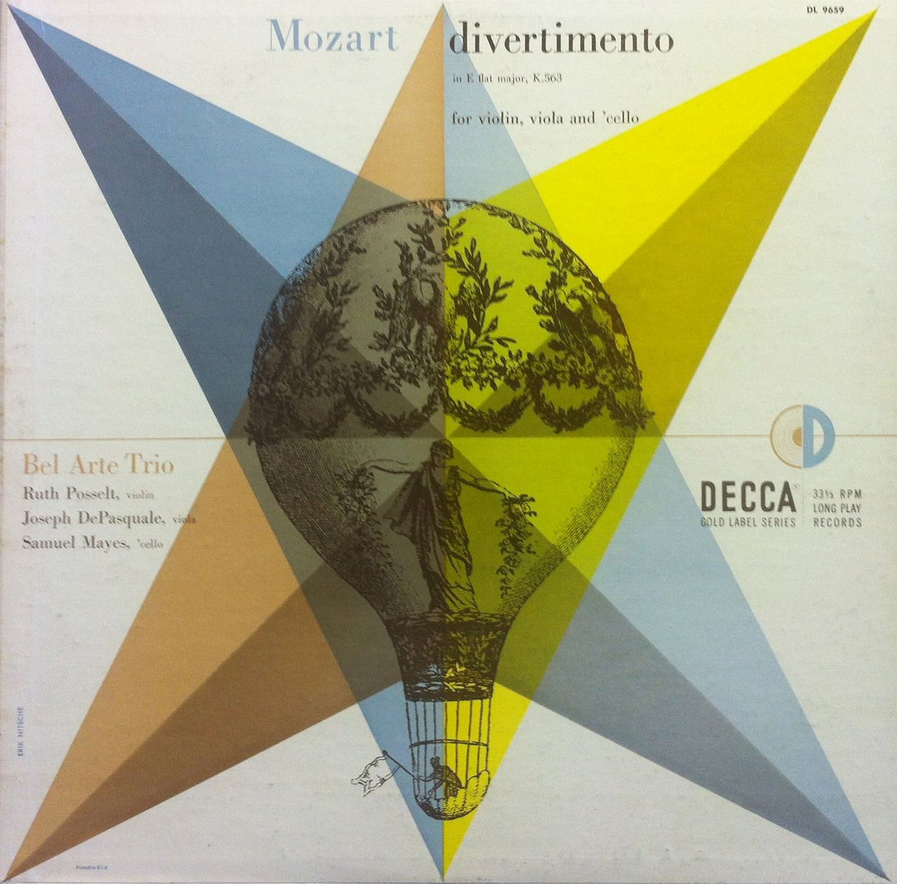 Erik Nitsche, album artwork for Bel Arte Trio, Mozart, 1959. Decca Records.