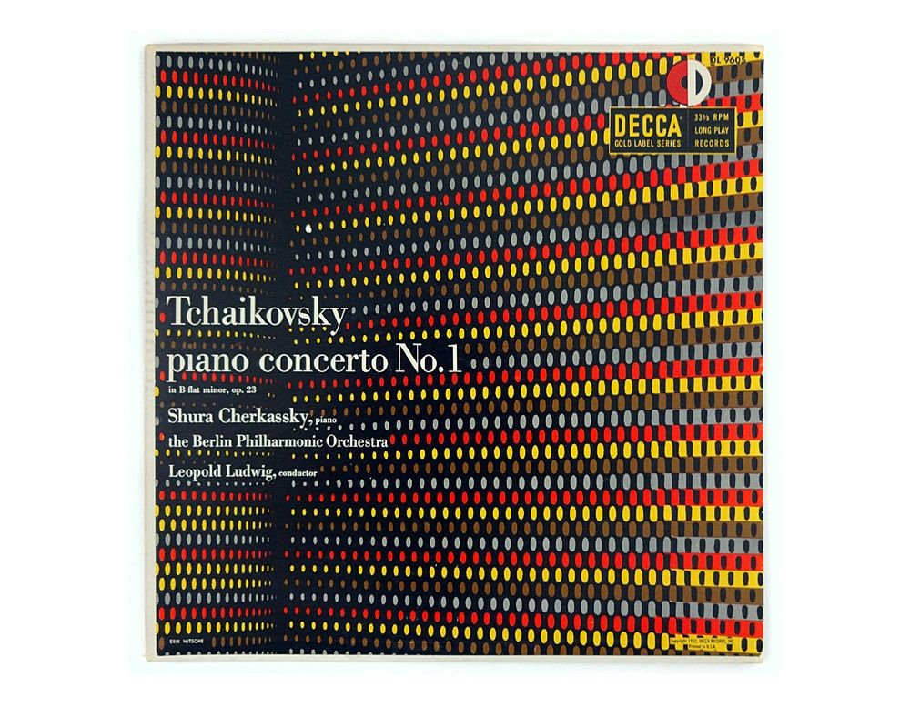 Erik Nitsche, artwork for Tchaikovsky piano concerto No.1, 1952. Decca Records.