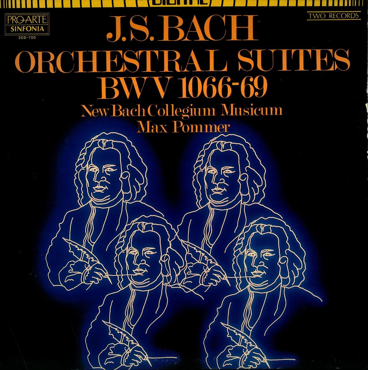 J.S. Bach- Orchestral Suites (BWV 1066-69) New Bach Collegium Musicum, Max Pommer, conductor.  Sinfonia Digital Series (Sinfonia Pro-Arte) 2DS-700 (1983)  Cover art by M.A. Mead