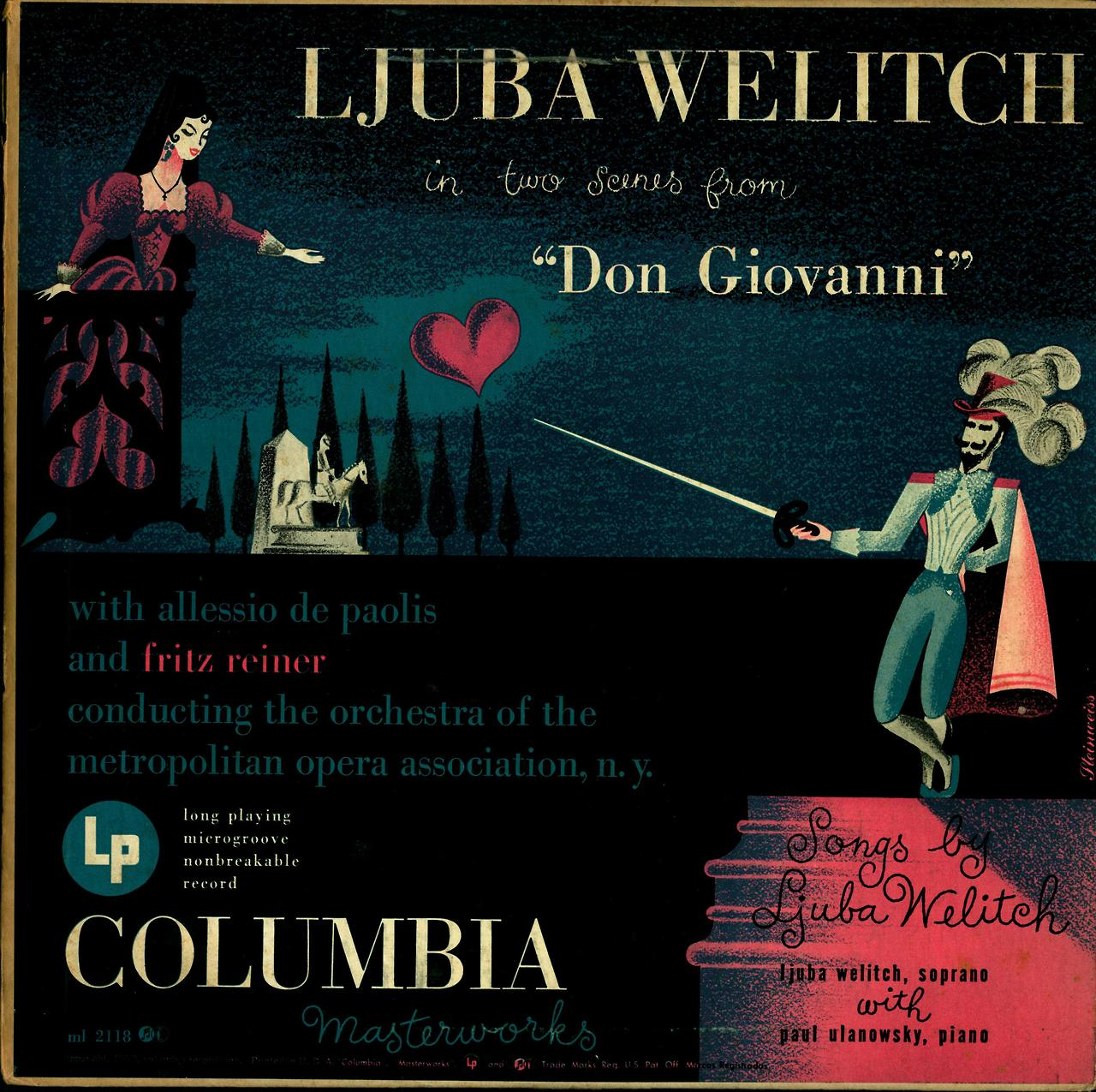"Mozart- Two Scenes from ""Don Giovanni"" Ljuba Welitch, soprano; Paul Ulanowsky, piano Orchestra of the Metropolitan Opera Allessio de Paolis and Fritz Reiner, conductors.   Columbia Masterworks ML 2118 (1950)  Cover Art by Alex Steinweiss"