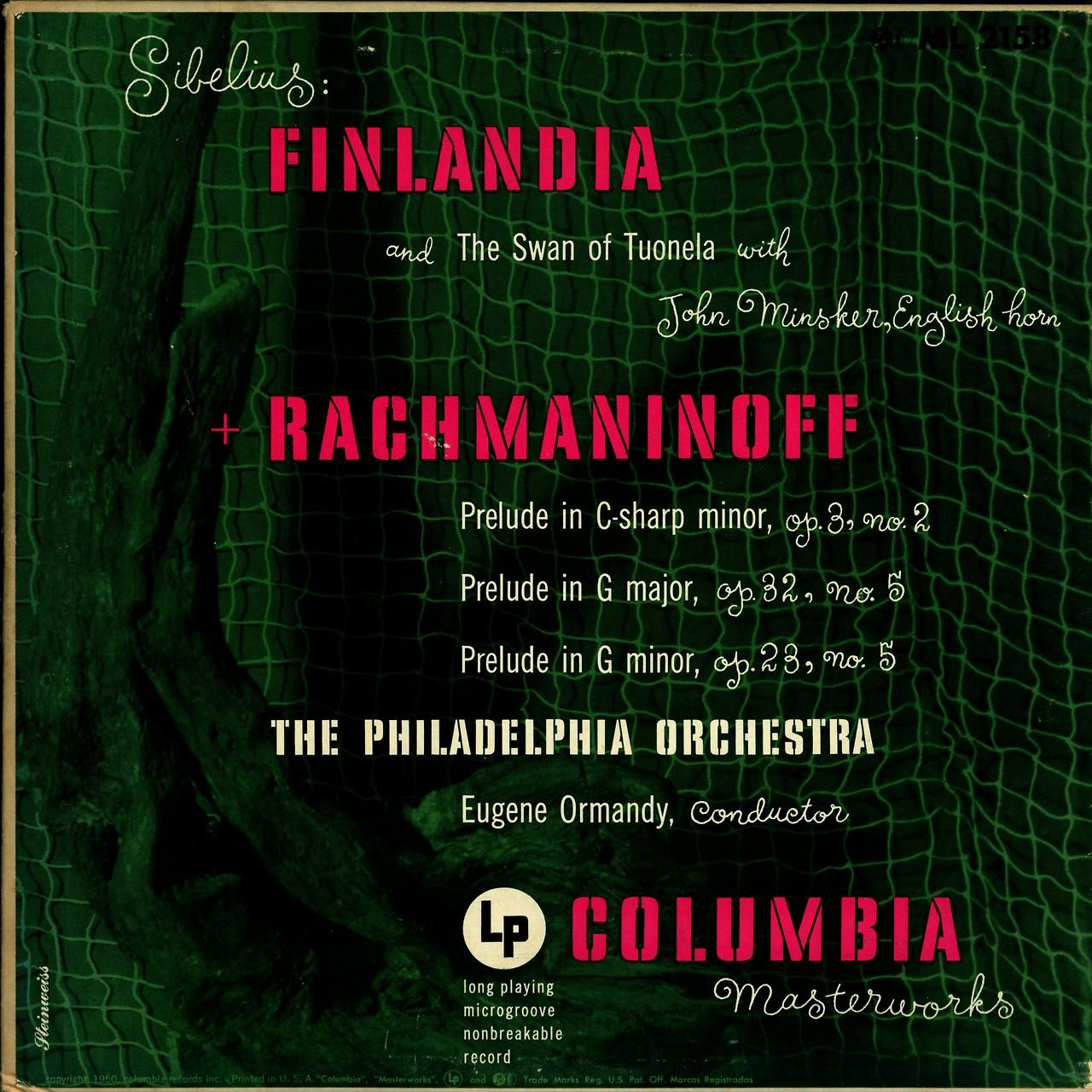 Sibelius- Finlandia:Swan of Tuonela Rachmaninoff- 3 Preludes Philadelphia Orchestra Eugene Ormandy, cond. John Minsker, English horn Columbia Masterworks ML 2158 (1950) Cover Art by Alex Steinweiss