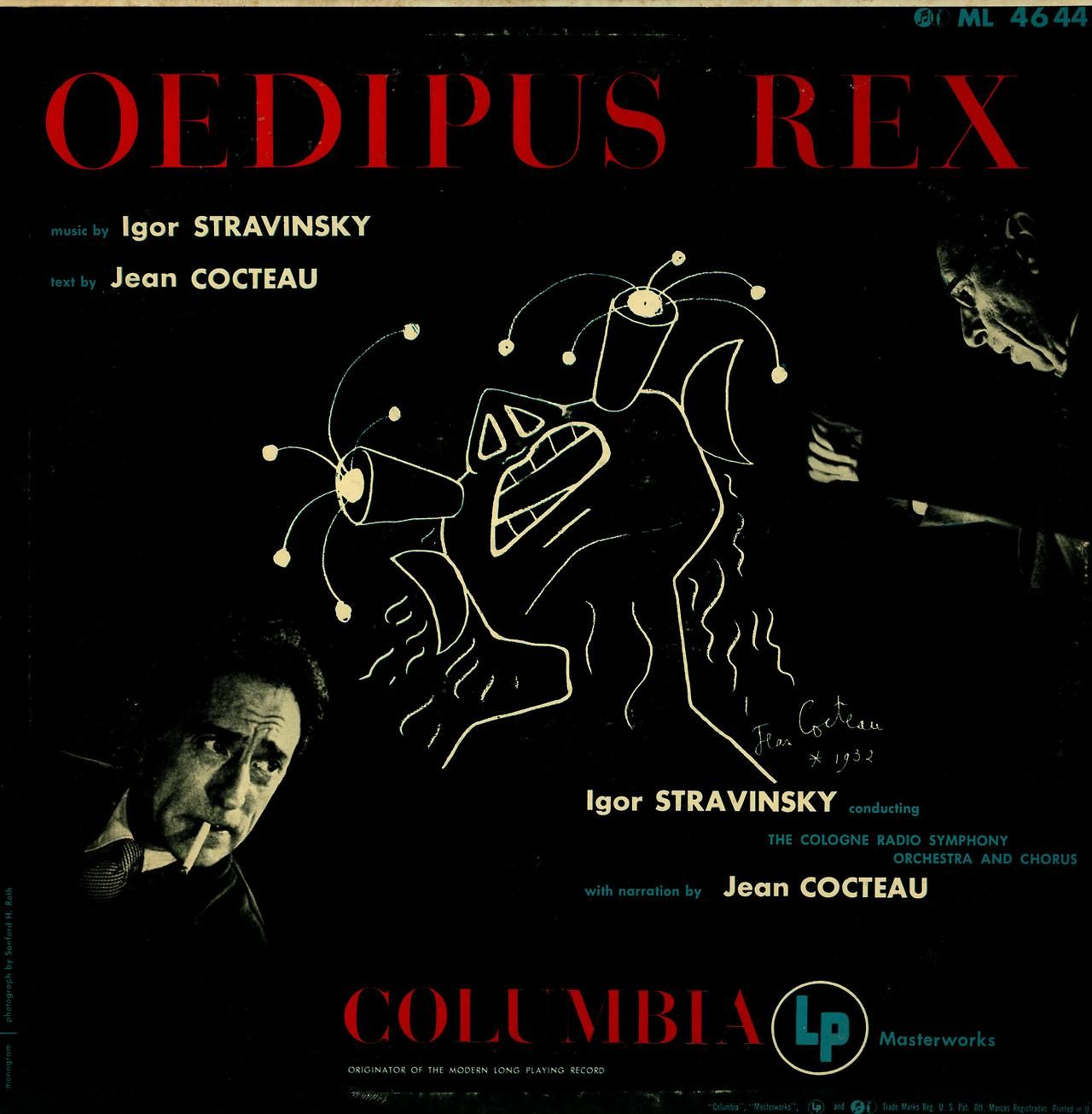 Stravinsky- Oedipus Rex (Text and Narration by Jean Cocteau) Cologne Radio Symphony Orchestra and Chorus; Igor Stravinsky, cond. Columbia ML 4644 Cover art by Jean Cocteau